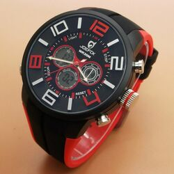 Quamer Sport Watch, Black/Red
