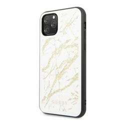 Zadný kryt Guess Marble Glass pre iPhone 11 Pro, biely